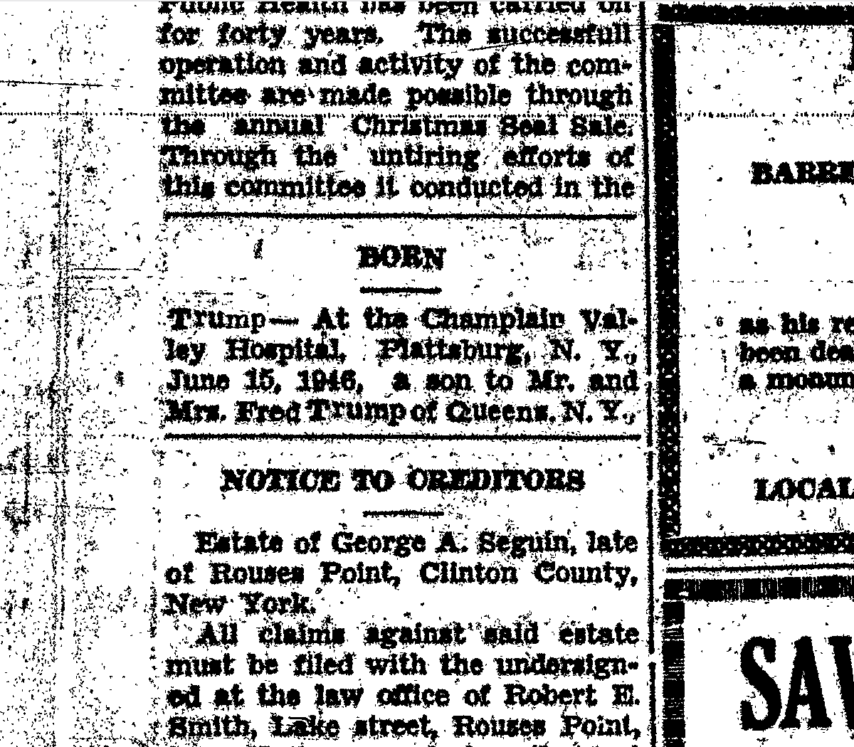 champlain valley hospital - June 15, 1946 Trump