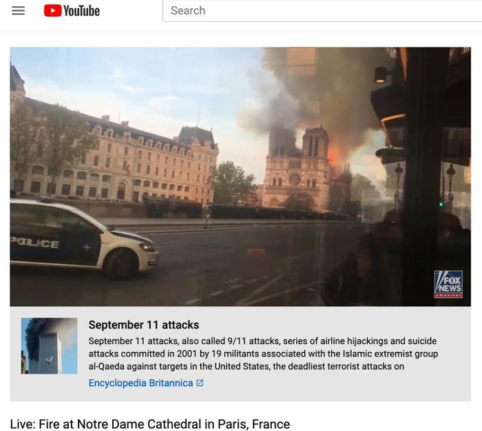 youtube algorithm shows 9/11 info below video of Notre Dame Cathedral burning